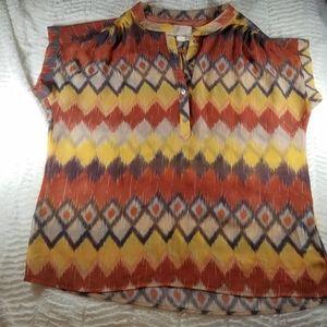 Quiksliver sheer aztec print top